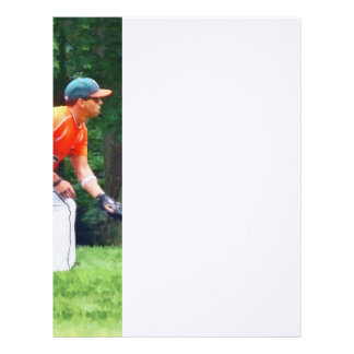 Baseball - Warming Up Before the Game Letterhead Design