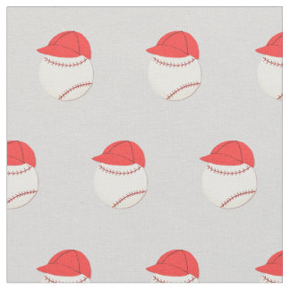Baseball Wearing Ball Cap, Sports Theme Fabric