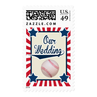Baseball Wedding in red, white and blue Stamps