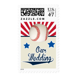 Baseball Wedding in red, white and blue Postage Stamp