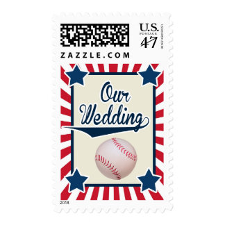 Baseball Wedding in red, white and blue Stamp