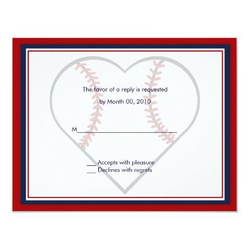 "Baseball Wedding Invitation reply cards 4.25"" X 5.5"" Invitation Card"