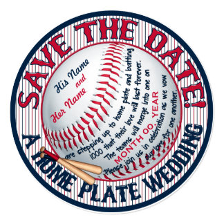 Baseball Wedding Save-The-Date-Template 3 Card