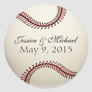 Baseball Wedding Classic Round Sticker