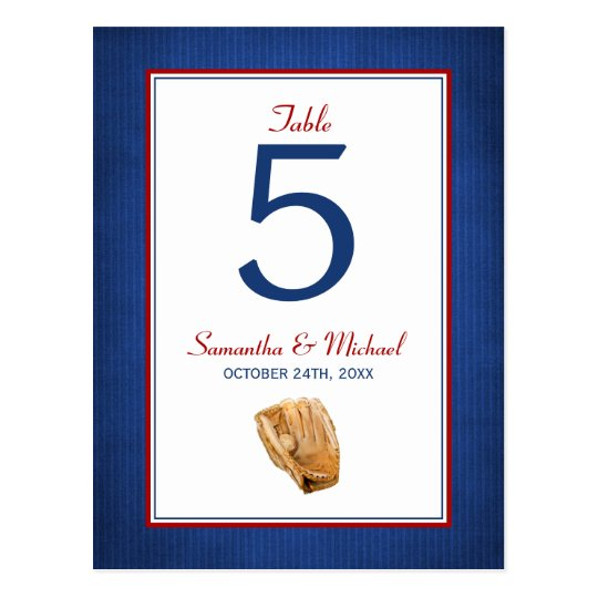 Baseball Wedding Table Number Postcard