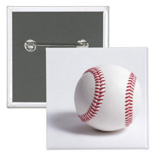 Baseball White 2 Inch Square Button