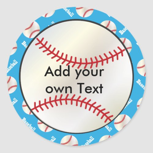 Baseball with a Baby Blue Background  Personalize Classic Round Sticker