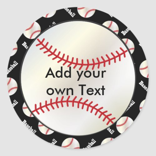 Baseball with a Black Background  Personalize Classic Round Sticker