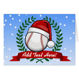 Baseball With A Christmas Style Santa Hat Card