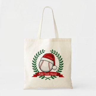 Baseball With A Christmas Style Santa Hat Tote Bag