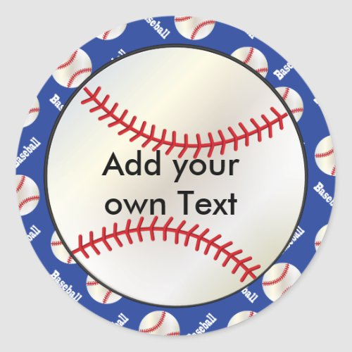 Baseball with a Dark Blue Background  Personalize Classic Round Sticker