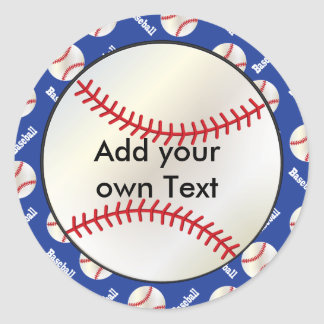 Baseball with a Dark Blue Background | Personalize Classic Round Sticker