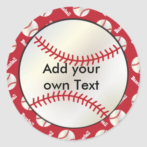 Baseball with a Dark Red Background  Personalize Classic Round Sticker