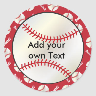 Baseball with a Dark Red Background | Personalize Classic Round Sticker