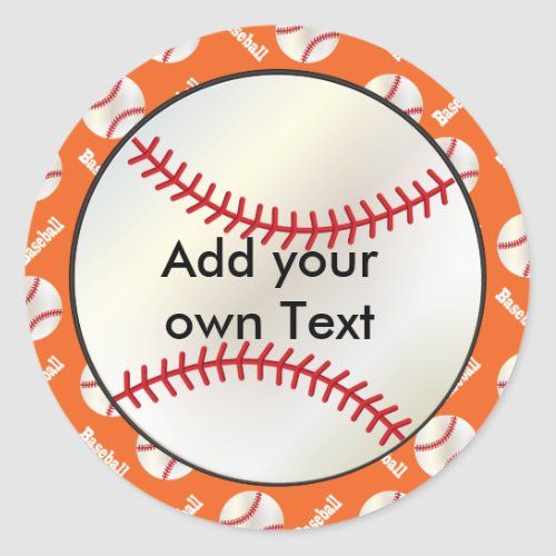 Baseball with a Orange Background  Personalize Classic Round Sticker