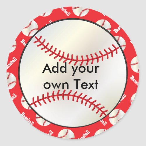 Baseball with a Red Background  Personalize Classic Round Sticker