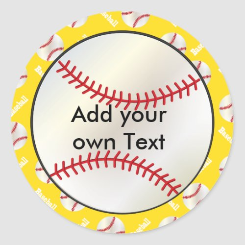 Baseball with a Yellow Background  Personalize Classic Round Sticker