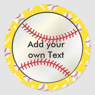 Baseball with a Yellow Background | Personalize Classic Round Sticker