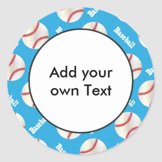 Baseball with Baby Blue Background | Personalize Classic Round Sticker