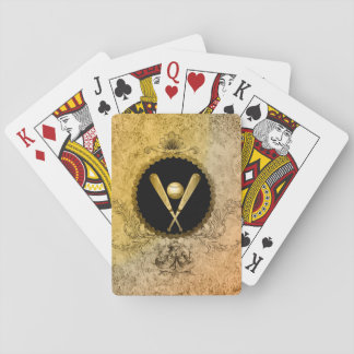 Baseball with baseball bat on a round botton playing cards