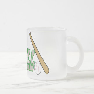 Baseball with Bat n Ball Frosted Glass Coffee Mug