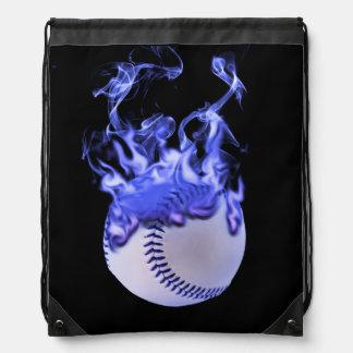 Baseball with blue flames and smoke. drawstring bag