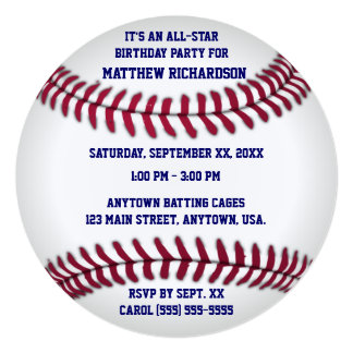 Baseball With Blue Pinstripe Back Card