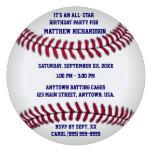 Baseball With Blue Pinstripe Back Custom Invitation