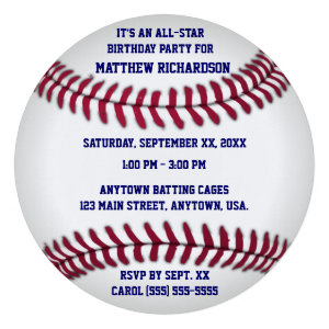 Baseball With Blue Pinstripe Back Custom Invitation