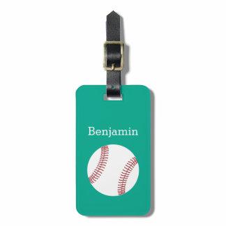 Baseball with Custom Name - Emerald Bag Tag
