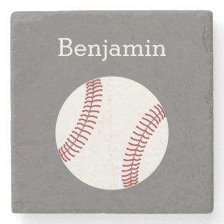 Baseball with Custom Name - Grey Stone Coaster