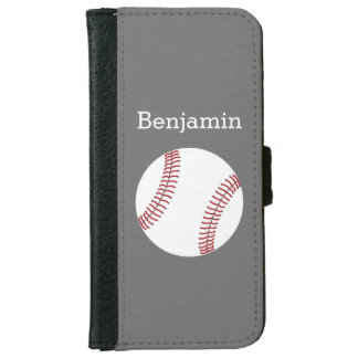 Baseball with Custom Name - Grey Wallet Phone Case For iPhone 6/6s