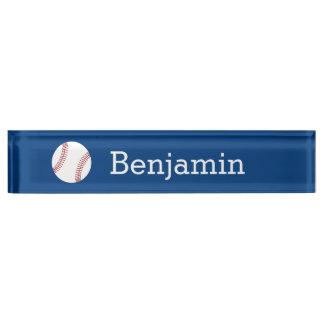 Baseball with Custom Name - Royal Blue Desk Name Plate