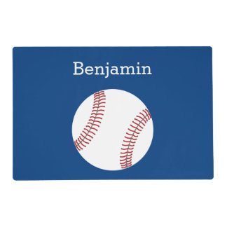 Baseball with Custom Name - Royal Blue Placemat
