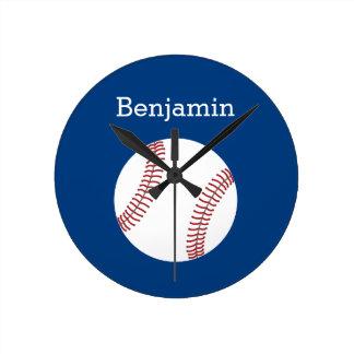Baseball with Custom Name - Royal Blue Round Clock