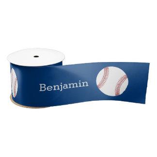 Baseball with Custom Name - Royal Blue Satin Ribbon
