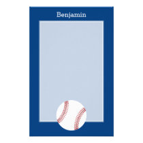 Baseball with Custom Name - Royal Blue Stationery