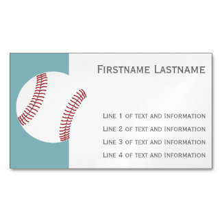 Baseball with Custom Name - Royal Blue Magnetic Business Cards (Pack Of 25)
