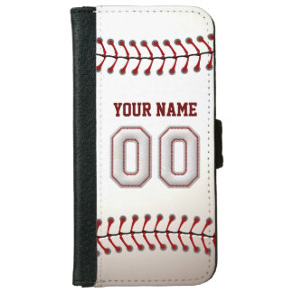 Baseball with Customizable Name Number 00 iPhone 6 Wallet Case