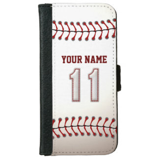 Baseball with Customizable Name Number 11 iPhone 6/6s Wallet Case