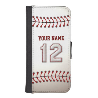 Baseball with Customizable Name Number 12 iPhone SE/5/5s Wallet Case