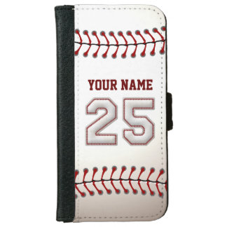 Baseball with Customizable Name Number 25 iPhone 6 Wallet Case