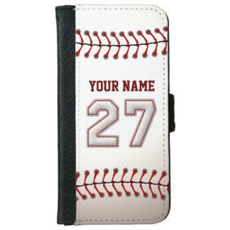 Baseball with Customizable Name Number 27 Wallet Phone Case For iPhone 6/6s