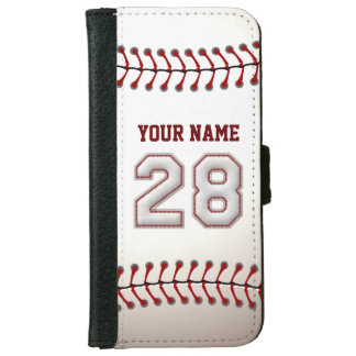 Baseball with Customizable Name Number 28 Wallet Phone Case For iPhone 6/6s