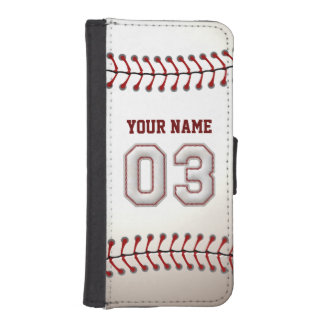 Baseball with Customizable Name Number 3 iPhone 5 Wallet