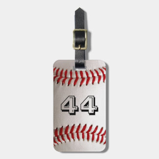 Baseball with customizable number luggage tag