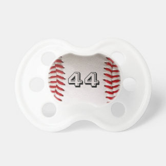 Baseball with customizable number pacifiers