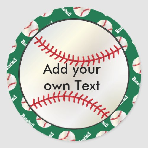 Baseball with Dark Green Background  Personalize Classic Round Sticker