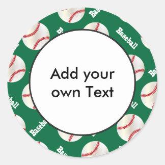 Baseball with Dark Green Background | Personalize Classic Round Sticker