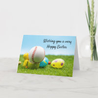Baseball with Easter eggs for Easter Holiday Card